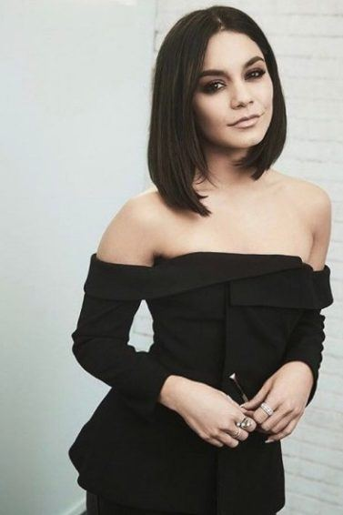 vanessa hudgens with a short black lob hairstyle