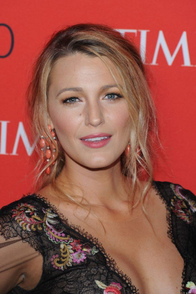 blake lively with messy updo at the time gala event wearing patterned dress