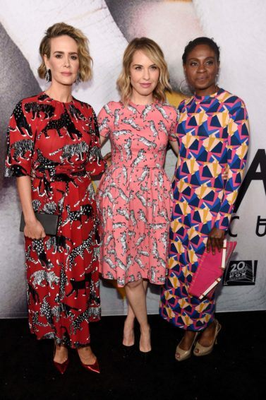 short hairstyles for women over 40: Sarah Paulson, Leslie Grossman and Adina Porter with short hair wearing patterned dresses