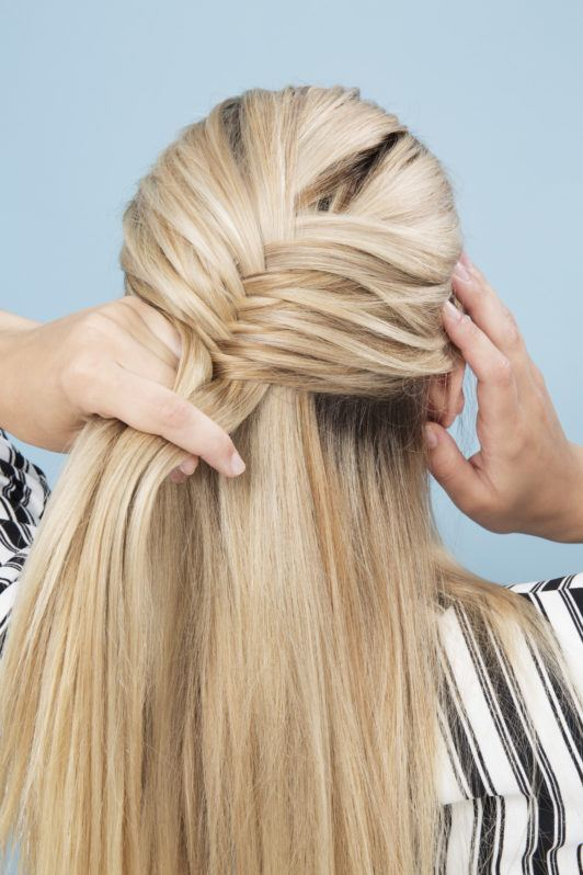 Tutorial How To Make A French Fishtail Braid Half Updo All Things