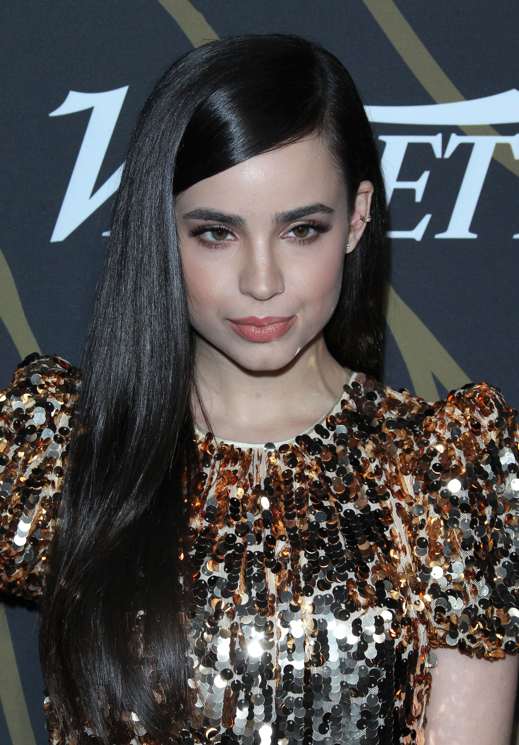 Long hair ideas: Sofia Carson with glossy side part hairstyle, wearing glitzy dress on the red carpet
