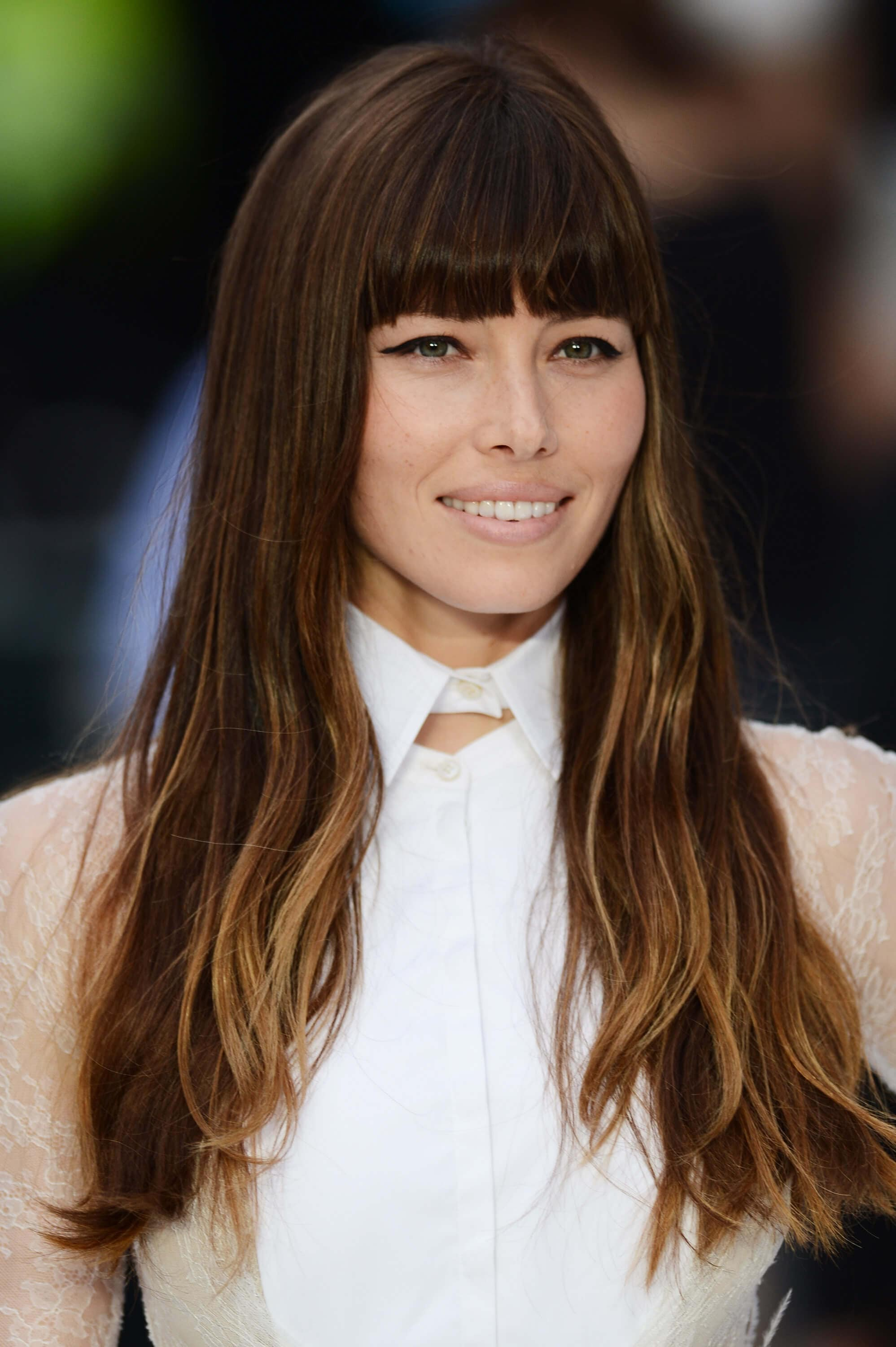 haircut ideas for long hair: Jessica Biel with soft layers and blunt fringe