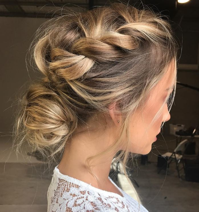 Twisted long blonde hairstyles with bun - Instagram