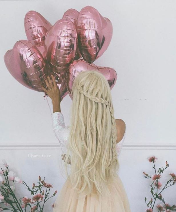 Long blonde hair with waterfall braid - Instagram