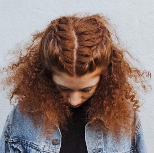 curly ginger hair in double half up braids