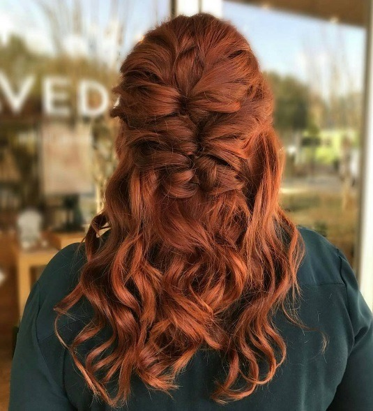 How to style long curly hair: long curly ginger hair in a half up pull through braid