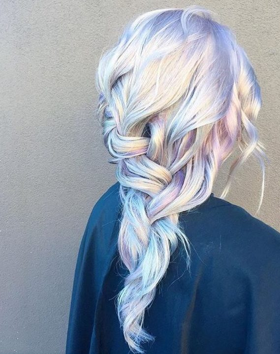Loose braid hairstyle with holographic hair colour - Instagram