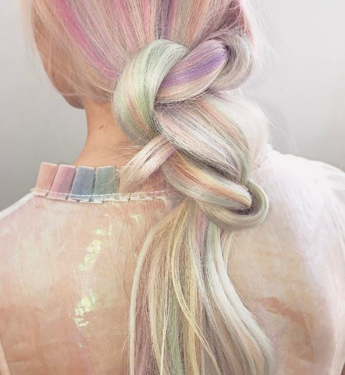 Holographic hair - twist ponytail hairstyle - Instagram