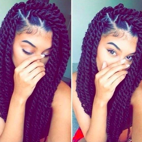 two image of a woman with her hair in marley twists swept to one side