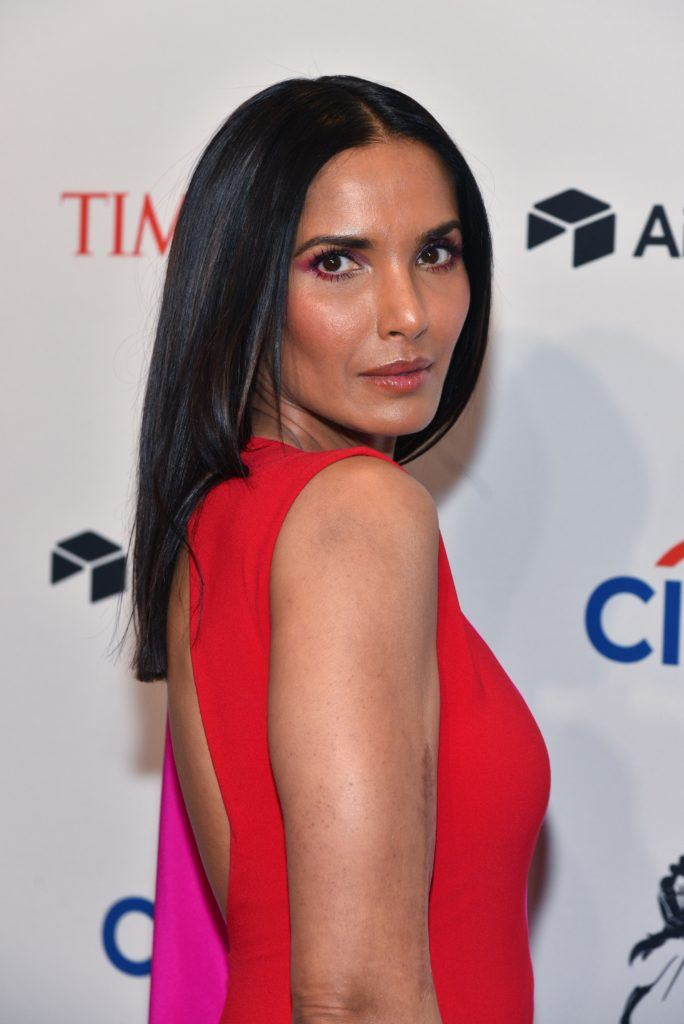 american tv host and author padma lakshmi at the time 100 gala with straight sleek medium length hair