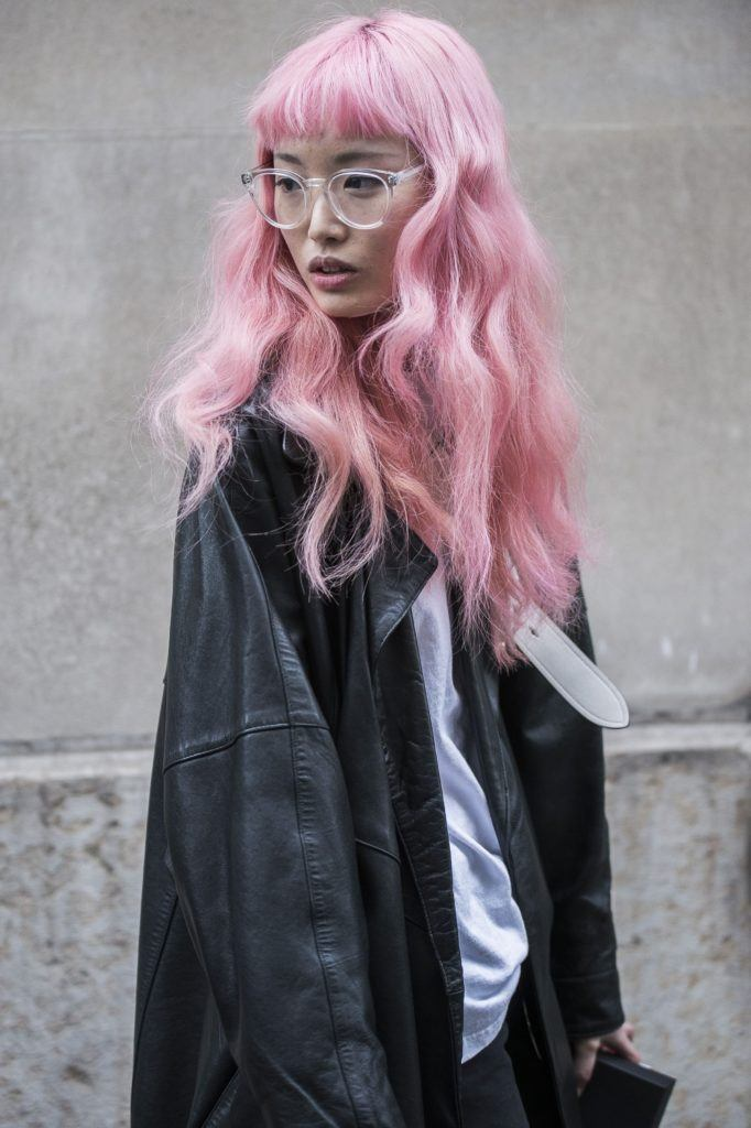 street style shot with model with pink long hair 2017