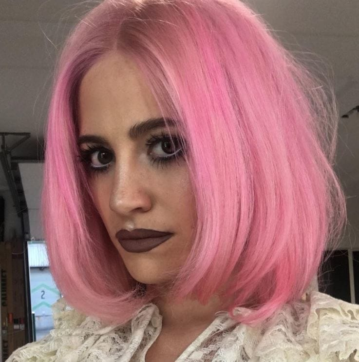 Bright pink hair - bob hairstyle - Pixie Lott - Instagram