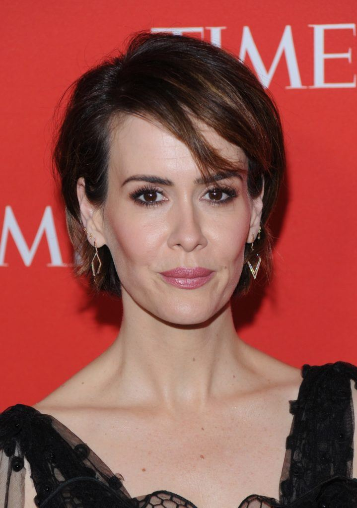 sarah paulson with long sleek pixie and black dress at the time gala event