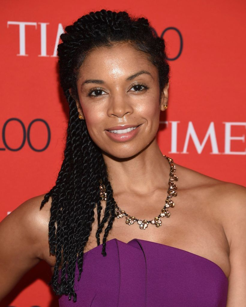 this is us actress susan kelechi at the time 100 gala with her braids in a half up half down hairstyle