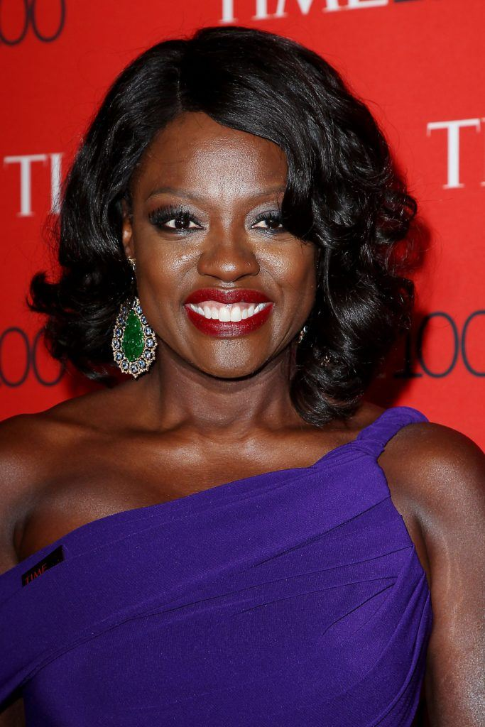 viola davis with wavy long bob and blue dress on the time gala red carpet