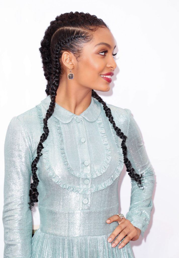 ghana braids pictures: yara shahdidi wearing blue dress on red carpet