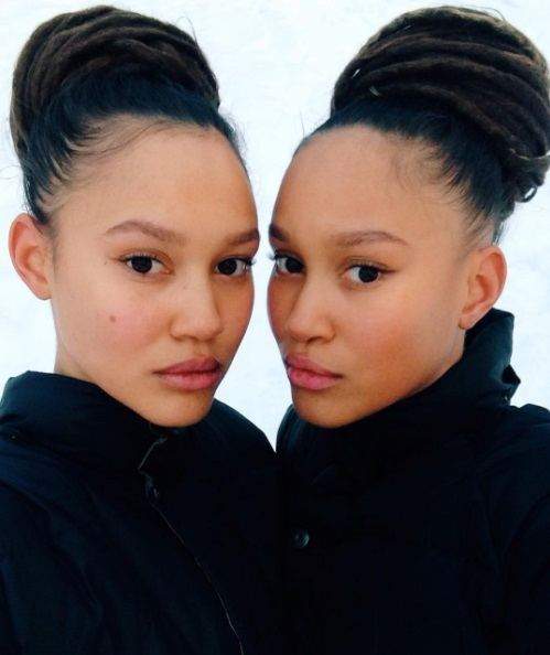twin girls with matching dreadlocks in high buns