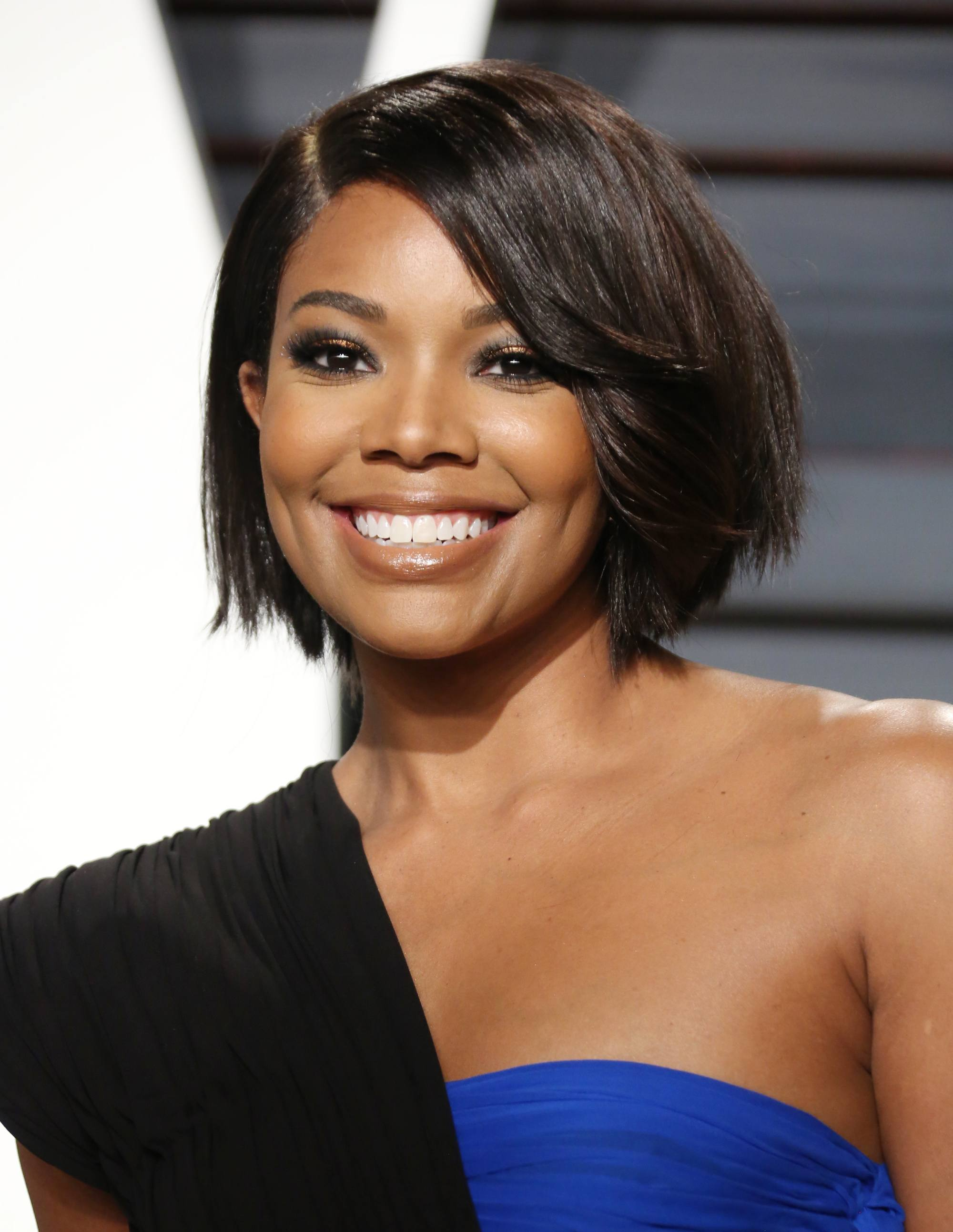 gabrielle union with sleek chin length bob on red carpet