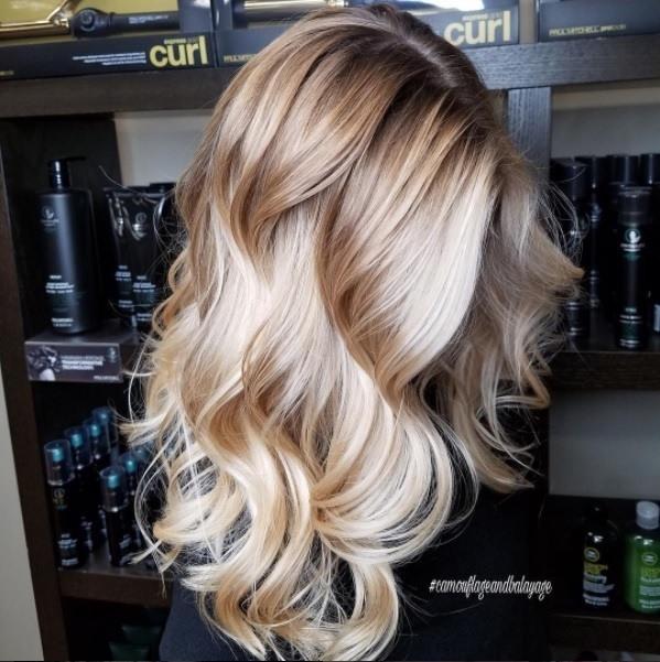 Woman With Medium Blonde Balayage Hair