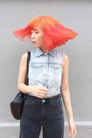 woman with two tone orange hair