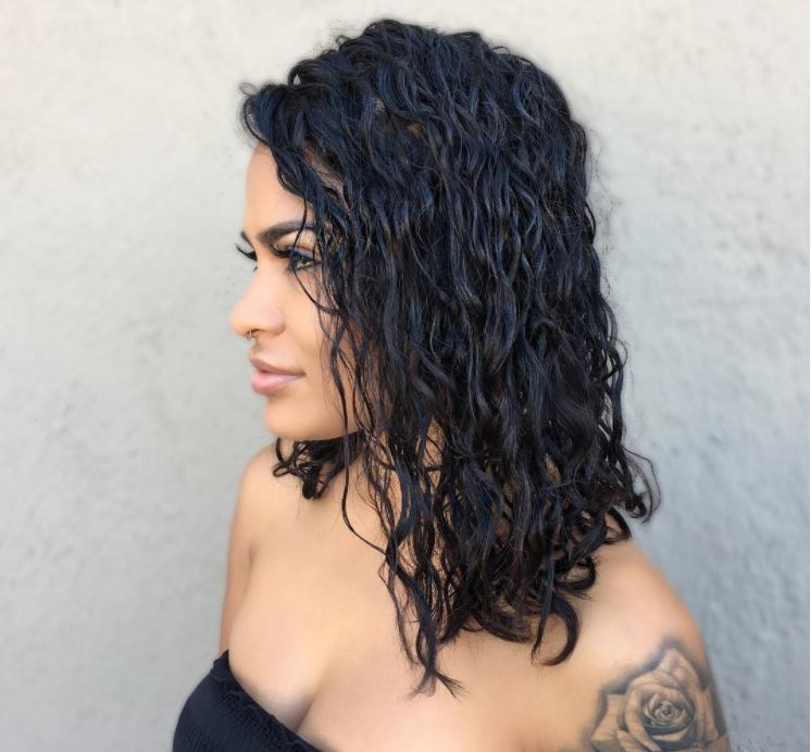 Perm hair - dropped perm curls - lob dark brown hair - IG