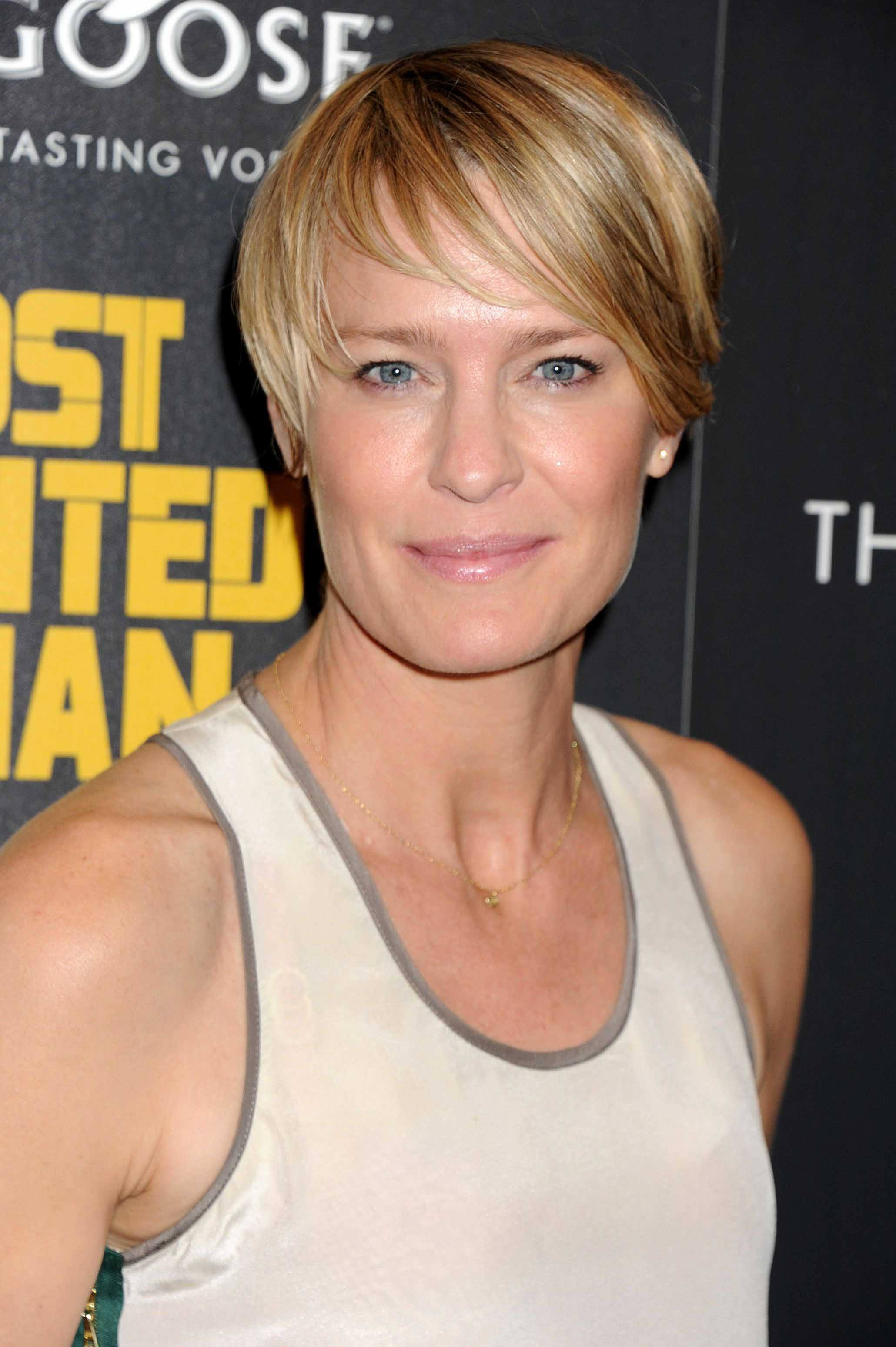 Robin Wright - blonde pixie cut with side sweeping fringe - Credit Rex by Shutterstock