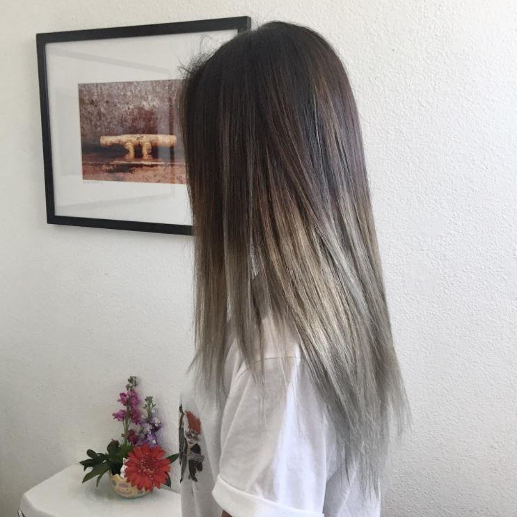 medium ash brown hair in an ombre style