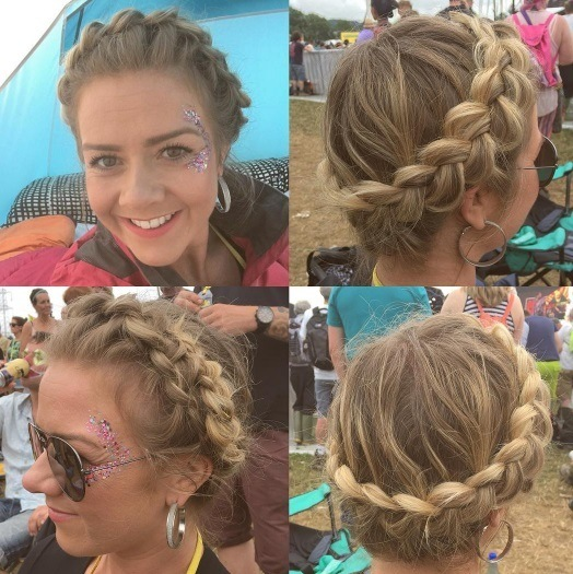 woman at glastonbury with crown braid hairstyle in tent