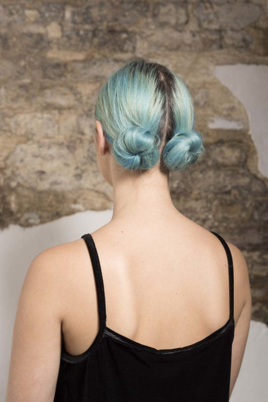 backshot of sophie hannah richardson with double low buns/Two buns hair tutorial