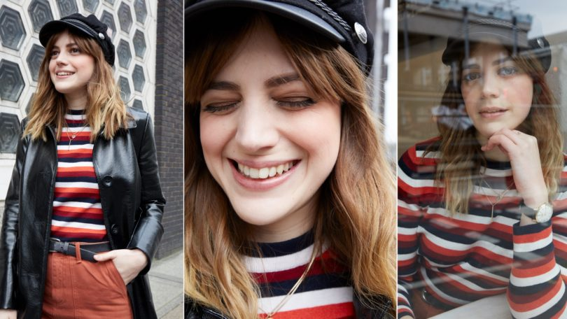 three images of a woman with medium length wavy brown hair and bangs, smiling wearing a striped top