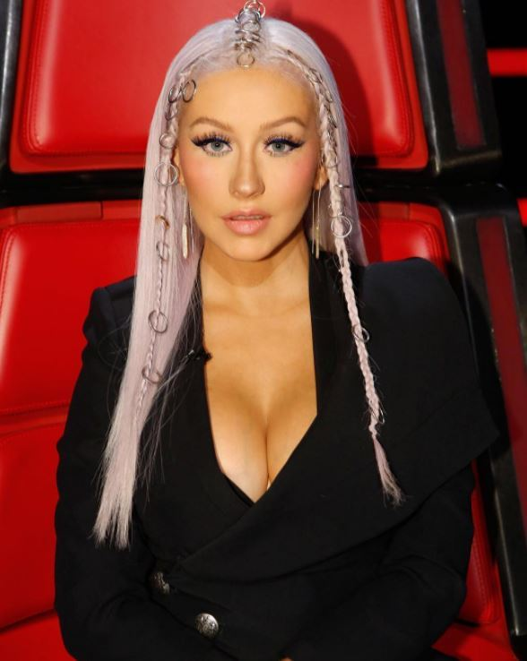 Christina Aguilera - long platinum blonde hair with braids at the front and hair rings