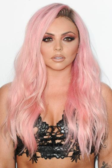jesy nelson with candyfloss pink hair at the capital radio summertime ball