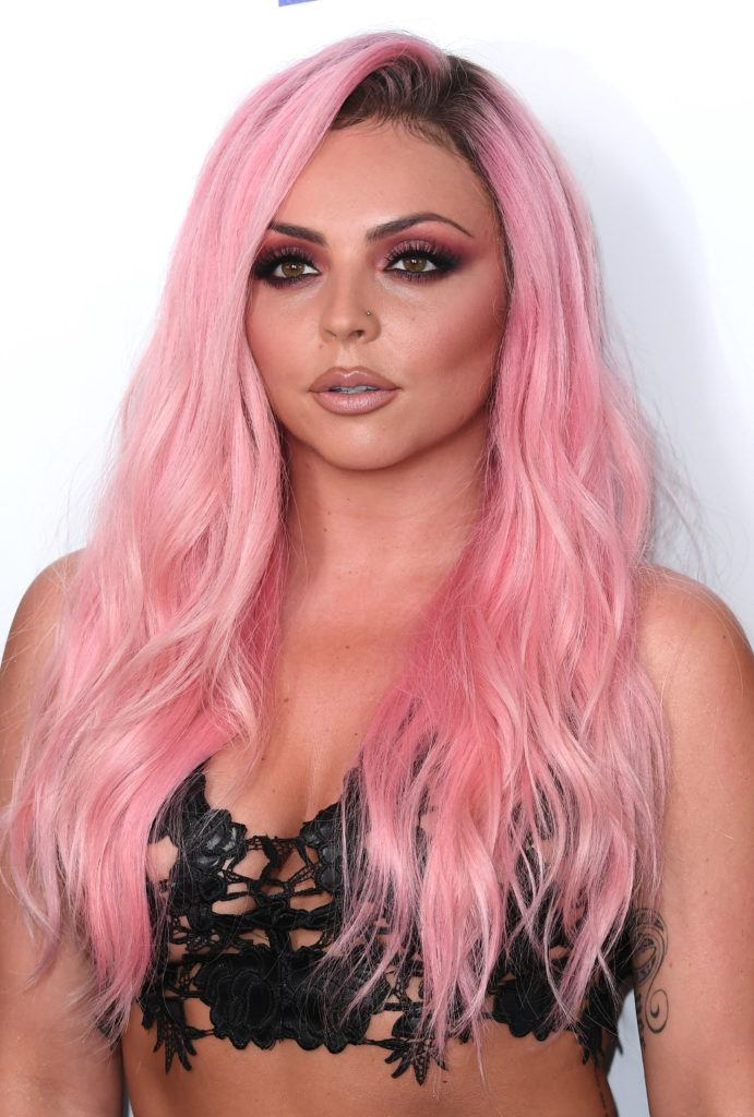 jesy nelson with pink hairstyle at capital summertime ball