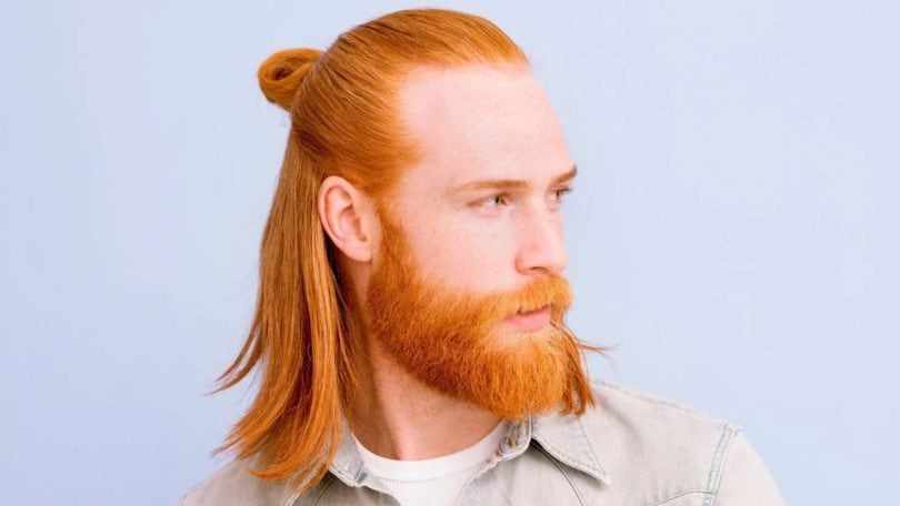 Gwilym C Pugh's half-up man bun hairstyle. Finished look