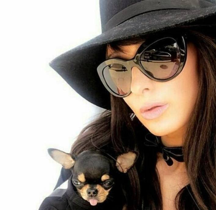 paris hilton with dark brown hair and hat with dog