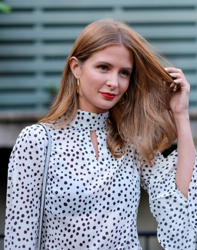 Millie Mackintosh looking for the side with her hair worn down with bronde hair colour