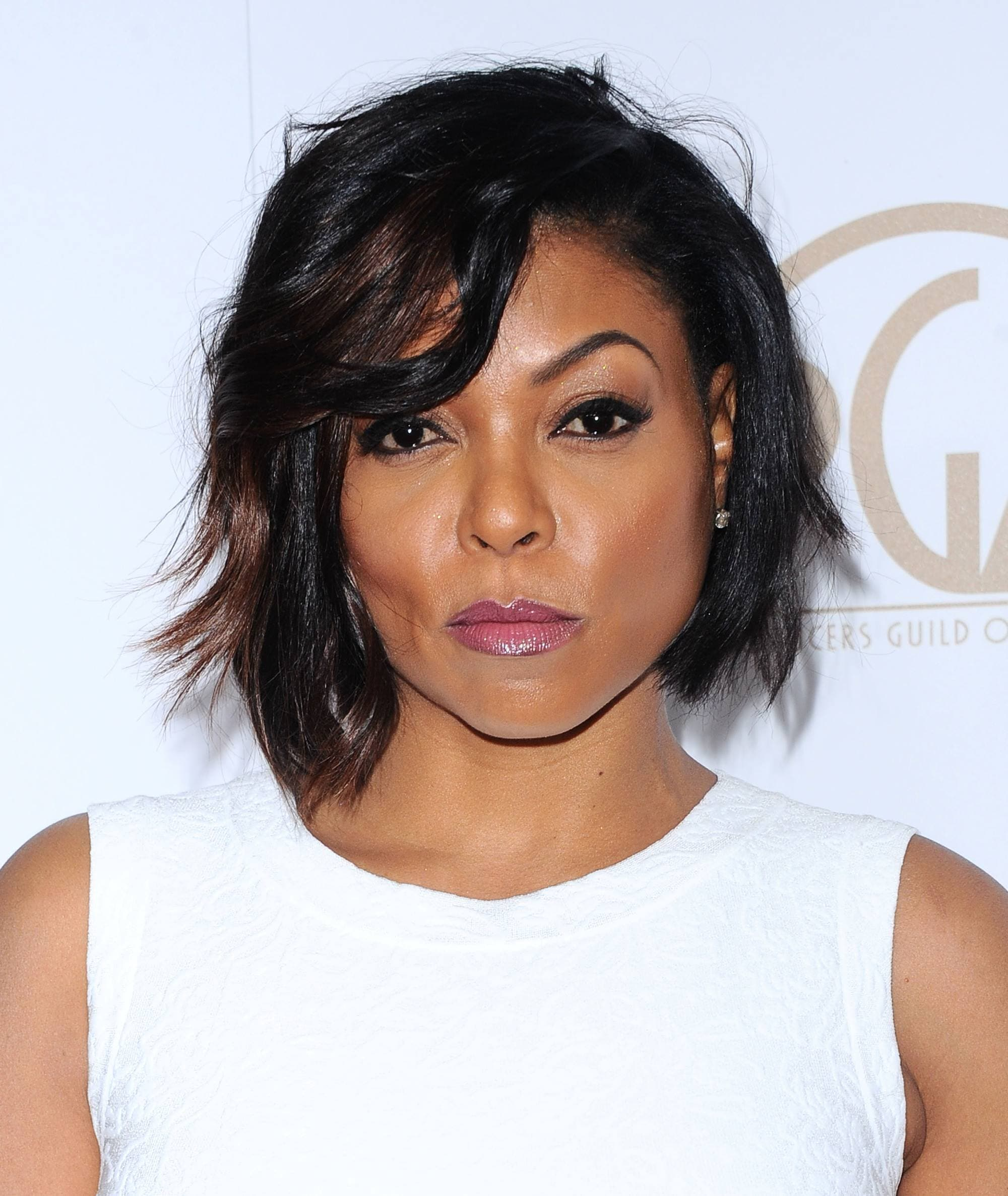 taraji p henson with a dark brown choppy bob with side fringe