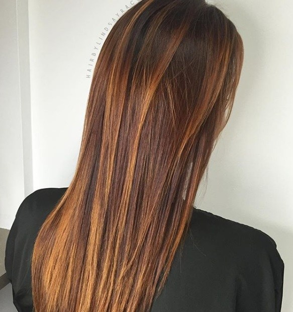 Red brown hair: Back shot of a woman with long chestnut brown hair with golden red highlights.