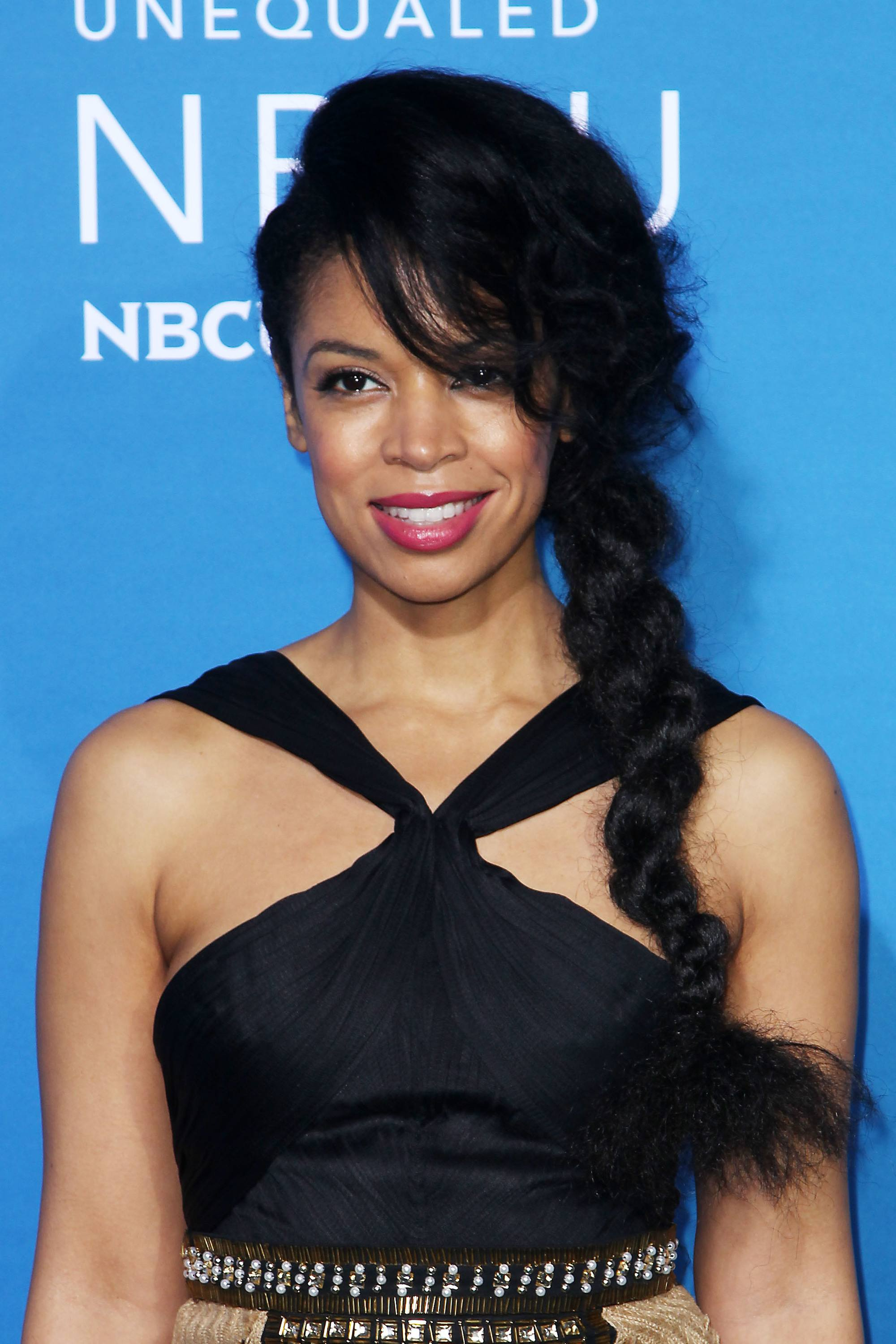 prom hairstyles for black girls: susan kelechi watson with side braided hairstyle