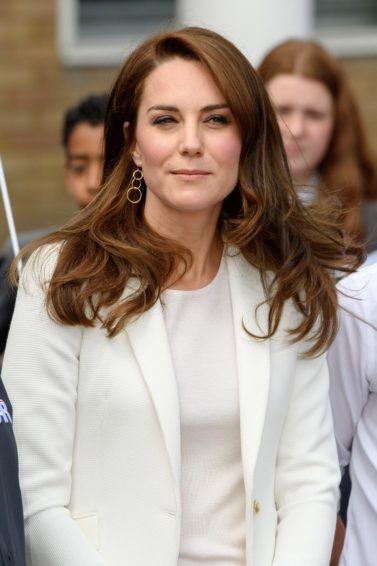 the duchess of cambridge kate middleton with her long brunette blow-out hair