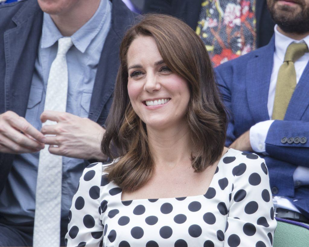 the duchess of cambridge kate middleton at the first day of wimbledon with her new shorter hairstyle