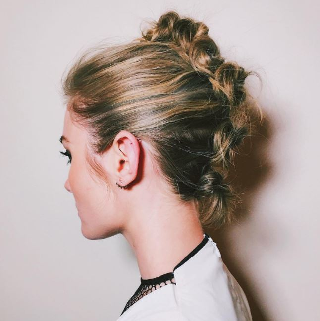 Short summer styles - knotted faux mohawk style on medium blonde hair
