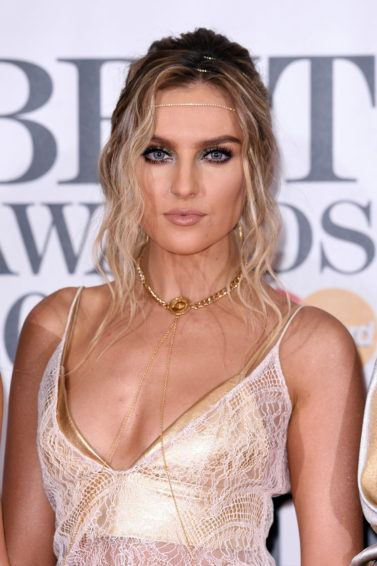 little mix singer perrie edwards on the red carpet wearing a grecian inspired hairstyle