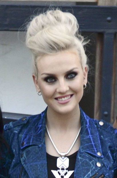 little mix in 2012 with perrie edwards wearing a voluminous updo