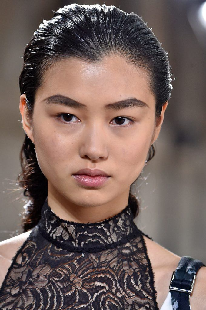 model with wet look hairstyle on the proenza schouler runway paris haute couture week 2017