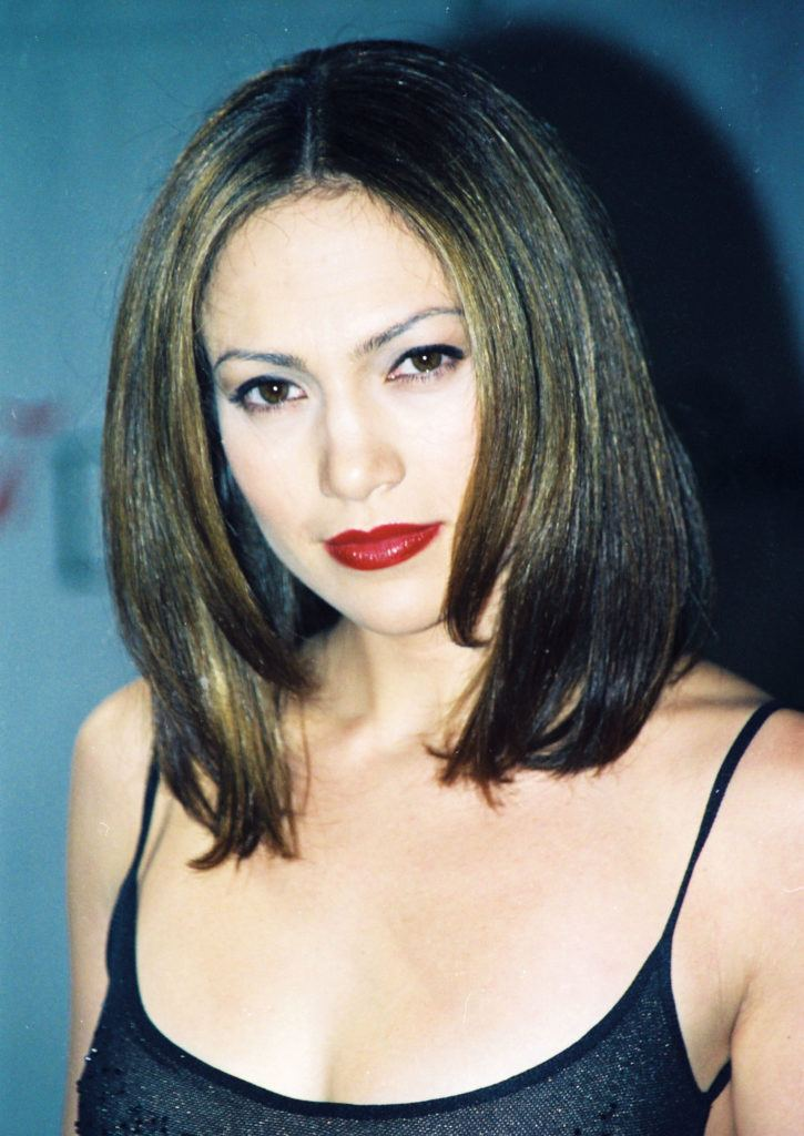Jennifer Lopez in 1998 with a dark brown long bob smooth style