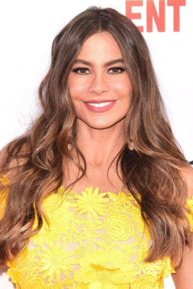 Modern Family actress sofia vergara with her signature long brunette curly hair