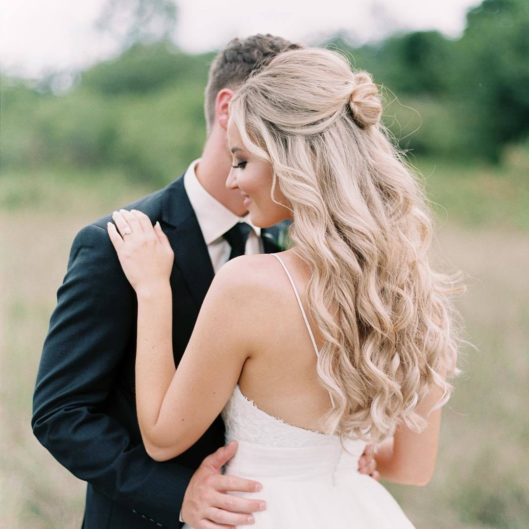 Wedding Hairstyles Down Curly: 23 Stunning Half-Up, Half-Down Wedding Hairstyles