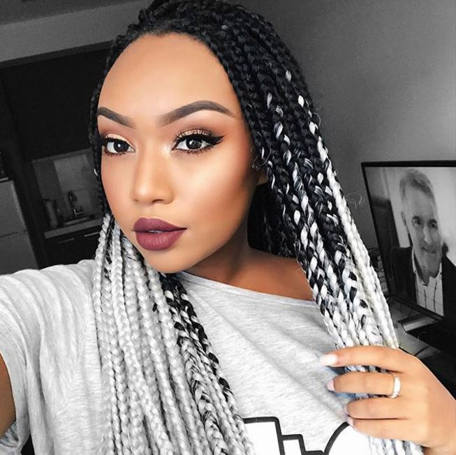 selfie of girl with black and white box braids