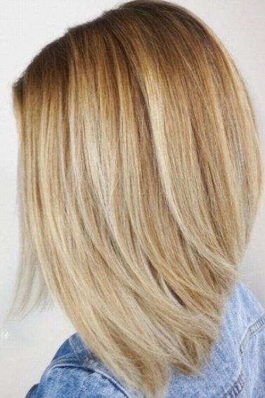 side profile of a blonde woman with a wispy a line lob